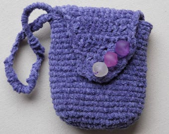 small purple cotton chenille crochet bag with toning bead closures