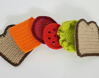 Crochet Sandwich Coasters - set of 6 with non-slip girp backs. - Drinkware