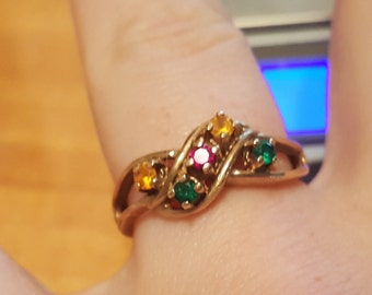 Vintage 10kt Yellow Gold Multi Gem Ring US Size 8, 3.4gr
