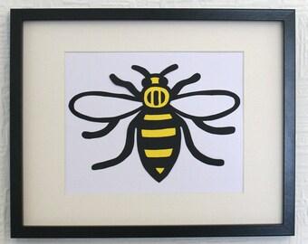 Manchester Bee framed paper cut