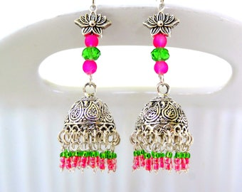 Silver Lotus Dangle Earring, Lotus Jhumka, Indian Earrings, Lotus flower Pink and Green Jhumka Earrings, Fashion Earrings,  Flower Earrings.