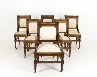 B633 Set of Six Antique Carved Walnut Eastlake Dining Chairs