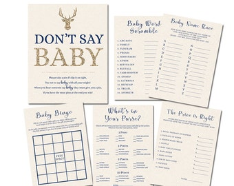 Baby Shower Games, Deer Baby Shower Games, Boy Baby Shower Games, Midnight Blue and Gold Baby Shower Games, Printable Baby Shower Games
