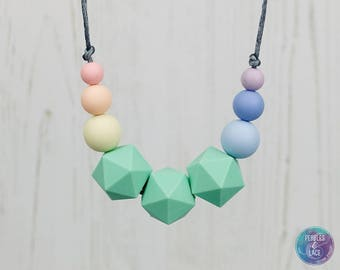 Rainbow Teething Jewellery, Teething Necklace, Geometric Beads, Nursing Necklace, Baby Shower Present, Pastel Rainbow, Unicorn Jewellery