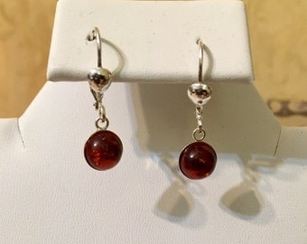 USA FREE SHIPPING-Amber Sterling Silver Earrings