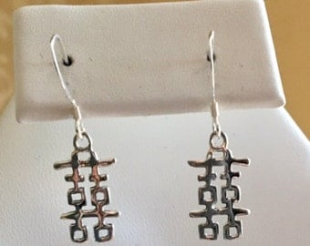 Chinese Symbol Happiness Sterling Silver Earrings
