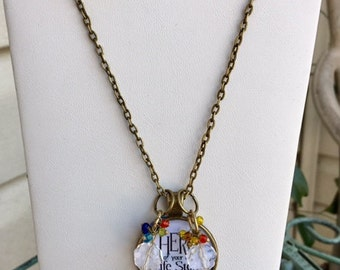 Hero with Beads, Bronze Charm Necklace 24""