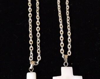 Mother of Pearl Cross Pendent/Bracelet Set