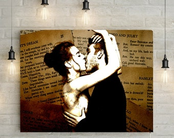 1st Wedding Anniversary Gift - Paper anniversary, Romeo and Juliet Custom Couples Art, Photo to Canvas or Printable