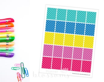 """Boxes Planner Stickers, printable. Polka dots. US Letter Size (8.5""""x11""""), Erin condren box stickers. Life planner boxes stickers."""