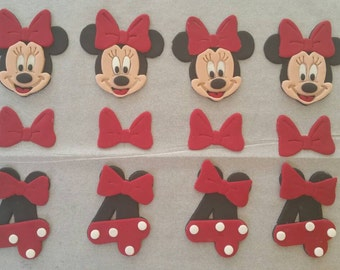 12 Minnie Mouse edible fondant decorations for cakes, cupcakes and cookies