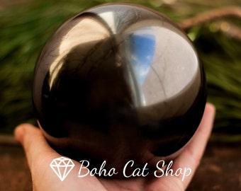 Shungite sphere polished 100 mm, Karelia magic stone, Reiki, EMF Protection, Mineral, Crystal Grid