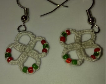 Hand tatted white with red and green beads earrings nickel free