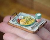 Miniature Pancake Breakfast Set, Country style - Handmade in 1/12 Scale