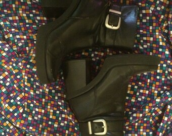 Black vintage 70's styled boots size 7