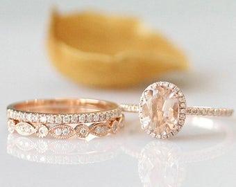 6x8mm oval cut morganite ring set 14k rose gold engagement ring set morganite engagement ring set - Morganite Wedding Ring Set