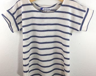 Lightweight French Terry Dolman in Neon-Speckled Ivory with Blue Stripes. Kid Sizes XS-XL