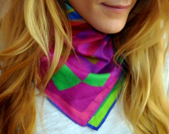AXLE printed scarf, bandana, scarf, gift for her, colorful scarf, rainbow scarf, multicolor scarf, cotton scarf, neck scarf
