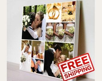 WEDDING COLLAGE Photo collage Bridal Gift Custom Canvas  Wall print decor Print on canvas
