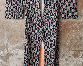 Authentic Japanese Silk Kimono / Vintage Kimono /Batik Print/ Retro Print on Silk