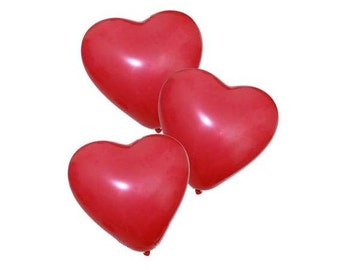 "6 Red Heart Shaped Balloons / 11"" Latex / Valentines Day Balloons / Love Romance Decor / Party Decorations / Photo Props / Gifts for Her"