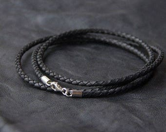 Leather cord. Silver leather cord. Man cord. Woman cord. Silver cord.