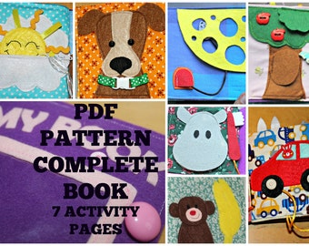 Quiet book pattern and instructions, complete book, cover and 7 activity pages