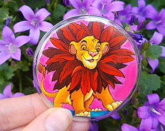 Handpainted button badge / Simba from Disney's 'The Lion King'