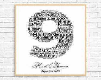 PERSONALIZED 9th ANNIVERSARY Gift Word Art Printable Unique Anniversary 9