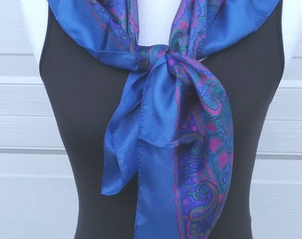 Vintage Large Blue Paisley Silk Scarf, Printed Scarf, Square Scarf, Blue Scarf, Pink Paisley, Neck Scarf, Head Covering, Head Scarf Chemo
