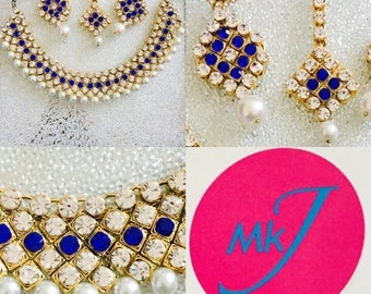 Royal Blue Necklace, Earring and Tikka Set