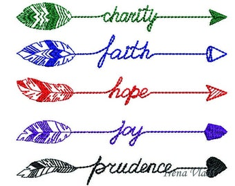 Set 10 designs Charity Faith Hope Joi Prudens with arrows embroidery design Arrow Embellishment/3 sizes/Instant Download 4x4 5x7hoop, arrows