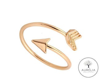 "18 K gold plated Adjustable ring ""Arrow"""