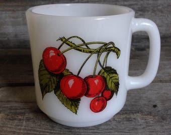 Vintage Glasbake #77 Milk Glass Cherries Mug | Milk Glass Mug