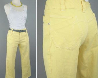 Vintage 70s Yellow capri pants // High waisted denim jeans // Medium 29