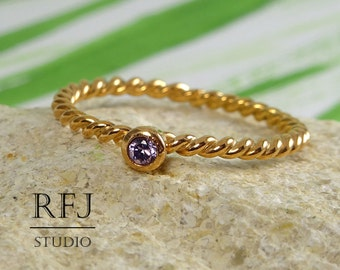 14K Gold Plated Rope Lab Amethyst Ring, Amethyst Braided Golden Ring, February Birthstone Purple 2 mm CZ 2 Twisted Rose Gold Plated Ring