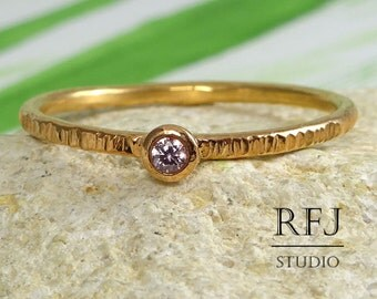 Rose Gold Textured Pink Diamond Ring, 14K Gold Plated 2 mm Lab Pink Diamond April Birthstone Ring, Stacking Rose Gold  Pink Diamond Ring
