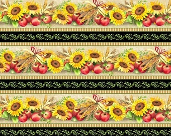 "Sunflower Fabric, Apple Fabric: Sunshine Orchard Sunflower Stripe by Wilmington Prints 100% cotton fabric by the yard 36""x43"" (M68)"