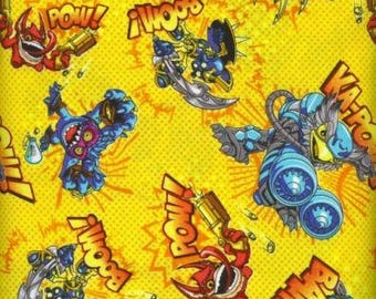 "Cartoon Fabric, Skylander Fabric: Skylanders Video Game Characters in Action Yellow Camelot 100% cotton fabric by the yard 36""x43"" (E294)"