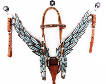 Handmade Teal Green Angle Wings Feathers Bling Leather Hand Painted Headstall Western Horse Trail Bridle Breast Collar Set