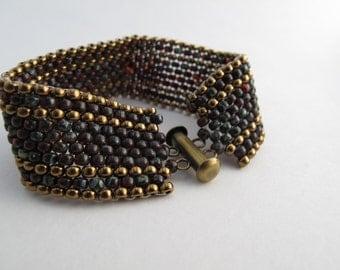 Amber and Bronze Beaded Peyote Stitch Bracelet