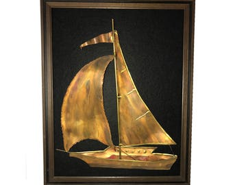 "Vintage Copper Sailboat Brutalist Sculpture Framed on Black Felt 19.5"" x 15.5"" Nautical Mid Century Wall Art Hanging Decorative Sail Boat"