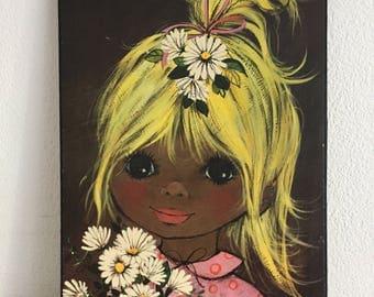 Vintage artwork cute girl with blonde hair and flowers lief schilderijtje Retro