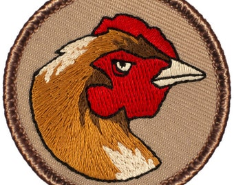Hen Patch (043) 2 Inch Diameter Embroidered Patch