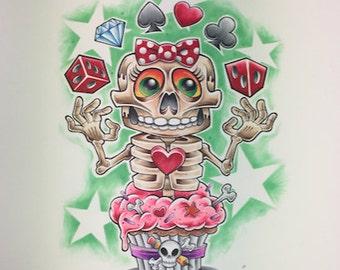 Original Art, Custom skeleton cupcake girl