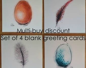 Set of 4 greeting cards // feather card // egg card // multi-pack cards // multi-buy discount // greeting card set // chicken lover cards