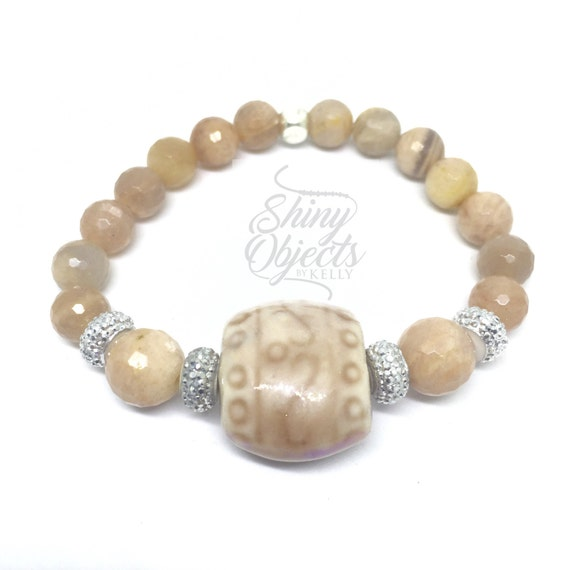 Peach Moonstone Stretch Bangle with Glazed Ceramic Accent