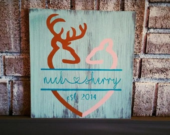 HIS and HER DEER | hearts wedding gift | Valentines day gift | love custom names | rustic pallet wood sign | hunting signs | couples signs