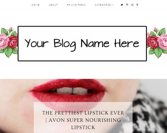 Pre Made Roses Blog Header - Digital - Custom - Blogger - Wordpress