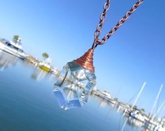 Vintage Geometric Crystal Necklace // Unique Crystal Prism Necklace // Copper Wire Wrapped Crystal Necklace